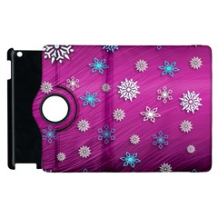 Snowflakes 3d Random Overlay Apple Ipad 2 Flip 360 Case by Celenk