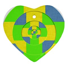 Fabric 3d Geometric Circles Lime Heart Ornament (two Sides) by Celenk