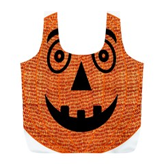 Fabric Halloween Pumpkin Funny Full Print Recycle Bags (l)  by Celenk