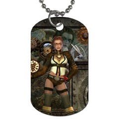 Steampunk, Steampunk Women With Clocks And Gears Dog Tag (two Sides) by FantasyWorld7