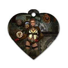 Steampunk, Steampunk Women With Clocks And Gears Dog Tag Heart (two Sides) by FantasyWorld7