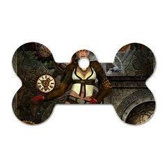 Steampunk, Steampunk Women With Clocks And Gears Dog Tag Bone (two Sides) by FantasyWorld7