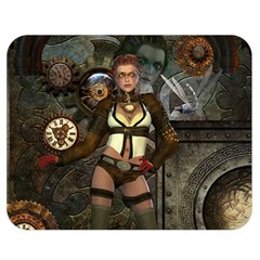 Steampunk, Steampunk Women With Clocks And Gears Double Sided Flano Blanket (medium)  by FantasyWorld7