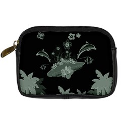 Surfboard With Dolphin, Flowers, Palm And Turtle Digital Camera Cases by FantasyWorld7