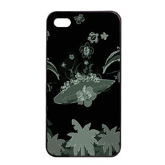 Surfboard With Dolphin, Flowers, Palm And Turtle Apple Iphone 4/4s Seamless Case (black) by FantasyWorld7