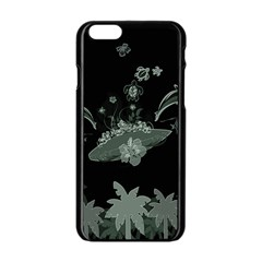 Surfboard With Dolphin, Flowers, Palm And Turtle Apple Iphone 6/6s Black Enamel Case by FantasyWorld7