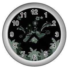 Surfboard With Dolphin, Flowers, Palm And Turtle Wall Clocks (silver)  by FantasyWorld7