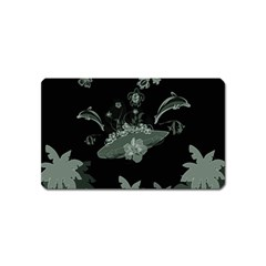 Surfboard With Dolphin, Flowers, Palm And Turtle Magnet (name Card) by FantasyWorld7