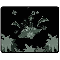 Surfboard With Dolphin, Flowers, Palm And Turtle Fleece Blanket (medium)  by FantasyWorld7
