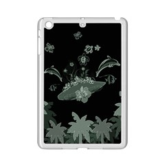 Surfboard With Dolphin, Flowers, Palm And Turtle Ipad Mini 2 Enamel Coated Cases by FantasyWorld7