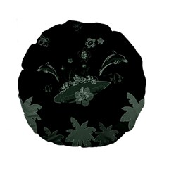 Surfboard With Dolphin, Flowers, Palm And Turtle Standard 15  Premium Round Cushions by FantasyWorld7