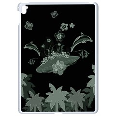 Surfboard With Dolphin, Flowers, Palm And Turtle Apple Ipad Pro 9 7   White Seamless Case by FantasyWorld7