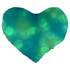Soft Lights Bokeh 1b Large 19  Premium Heart Shape Cushions by MoreColorsinLife