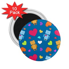 Robot Love Pattern 2 25  Magnets (10 Pack)  by allthingseveryday