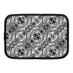 Black And White Ornate Pattern Netbook Case (medium)  by dflcprints