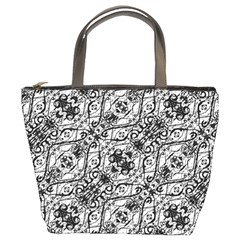 Black And White Ornate Pattern Bucket Bags
