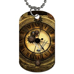 Wonderful Steampunk Desisgn, Clocks And Gears Dog Tag (two Sides) by FantasyWorld7