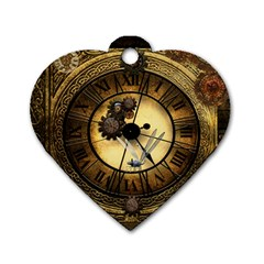Wonderful Steampunk Desisgn, Clocks And Gears Dog Tag Heart (two Sides) by FantasyWorld7