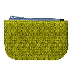 Flower Of Life Pattern Lemon Color  Large Coin Purse by Cveti