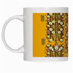 Rain Showers In The Rain Forest Of Bloom And Decorative Liana White Mugs by pepitasart