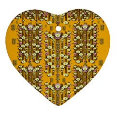 Rain Showers In The Rain Forest Of Bloom And Decorative Liana Heart Ornament (two Sides) by pepitasart