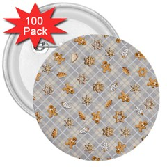 Gingerbread Light 3  Buttons (100 Pack)  by jumpercat