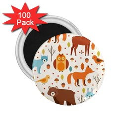 Woodland Friends Pattern 2 25  Magnets (100 Pack)  by allthingseveryday