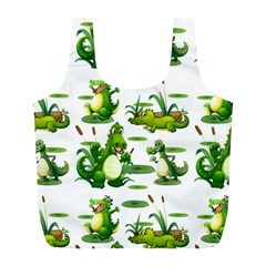 Crocodiles In The Pond Full Print Recycle Bags (l)  by allthingseveryday