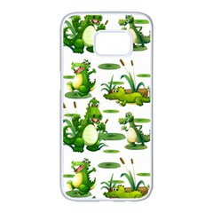 Crocodiles In The Pond Samsung Galaxy S7 Edge White Seamless Case by allthingseveryday
