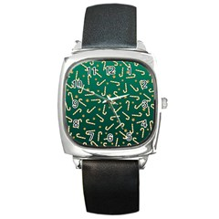 Golden Candycane Green Square Metal Watch by jumpercat