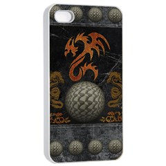 Awesome Tribal Dragon Made Of Metal Apple Iphone 4/4s Seamless Case (white) by FantasyWorld7