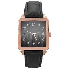 Winter Land Dark Rose Gold Leather Watch  by jumpercat