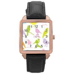 Birds Colourful Background Rose Gold Leather Watch  by Celenk