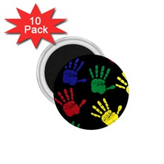 Handprints Hand Print Colourful 1 75  Magnets (10 Pack)  by Celenk