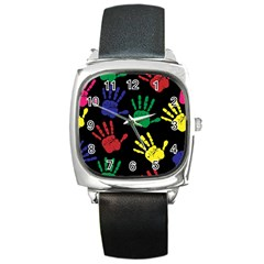 Handprints Hand Print Colourful Square Metal Watch by Celenk