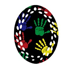 Handprints Hand Print Colourful Oval Filigree Ornament (two Sides) by Celenk