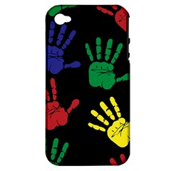 Handprints Hand Print Colourful Apple Iphone 4/4s Hardshell Case (pc+silicone) by Celenk