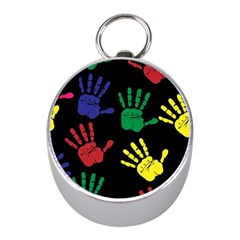 Handprints Hand Print Colourful Mini Silver Compasses by Celenk