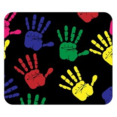 Handprints Hand Print Colourful Double Sided Flano Blanket (small)  by Celenk