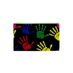 Handprints Hand Print Colourful Cosmetic Bag (xs) by Celenk