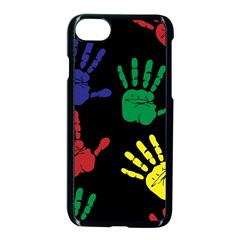 Handprints Hand Print Colourful Apple Iphone 7 Seamless Case (black) by Celenk