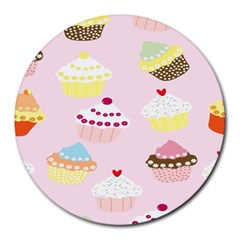 Cupcakes Wallpaper Paper Background Round Mousepads by Celenk