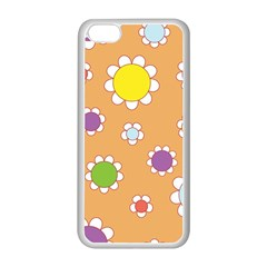 Floral Flowers Retro 1960s 60s Apple Iphone 5c Seamless Case (white) by Celenk