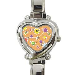 Floral Flowers Retro 1960s 60s Heart Italian Charm Watch