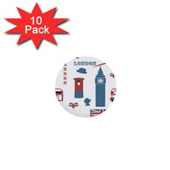 London Icons Symbols Landmark 1  Mini Buttons (10 Pack)  by Celenk