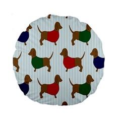 Dachshund Dog Cartoon Art Standard 15  Premium Round Cushions by Celenk