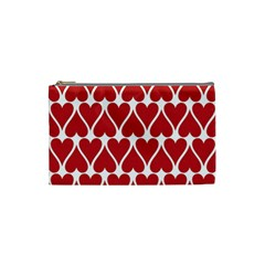 Hearts Pattern Seamless Red Love Cosmetic Bag (small)  by Celenk