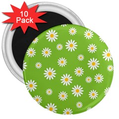 Daisy Flowers Floral Wallpaper 3  Magnets (10 Pack)  by Celenk