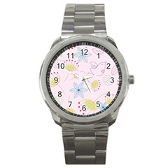 Floral Background Bird Drawing Sport Metal Watch by Celenk