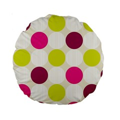 Polka Dots Spots Pattern Seamless Standard 15  Premium Round Cushions by Celenk